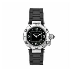 Cartier Women's W3140003 Pasha Stainless-Steel Ceramic Black Dial Watch Cartier. $4096.80. Scratch-resistant sapphire crystal. Water-resistant to 330 feet (100 M). Swiss-Quartz movement. Black dial; Luminescent hands and numeral markers; Date window. Stainless steel case and black ceramic-plated bracelet. Save 18%!