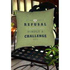 Thumbprintz Refusal Equals Challenge Indoor/Outdoor Pillow, White