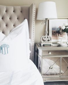 Blissful bedroom, starring our Jameson Bed & Borghese Mirrored Chest.