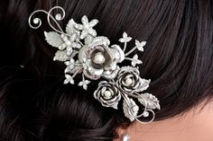 Wedding Hair, Rose Bridal Comb, Vintage Wedding Head piece Flowers and Leaves Rhinestone and pearl, Ivory Pearl Hair Accessory FAYE