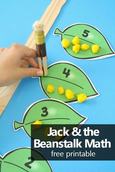 With this free printable Jack and the Beanstalk Math Activity preschool and kindergarten kids practice counting, making sets, and comparing numbers. Free Preschool, Free Math, Preschool Kindergarten, Preschool Ideas, Preschool Centers, Preschool Curriculum, Teaching Ideas, Early Learning, Fun Learning