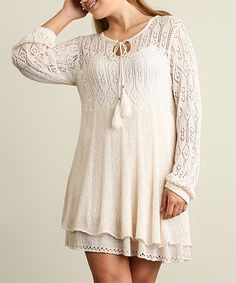 Look what I found on #zulily! Natural Lace Keyhole Sweater Dress - Plus #zulilyfinds