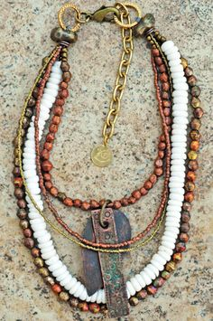 Exotic White & Copper Necklace: Dazzling and Bold Copper and White Puka Shell Multi-Strand African Pendant Necklace