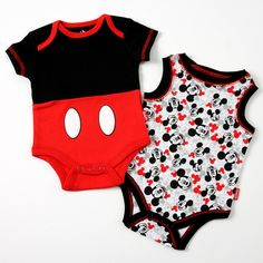 Dress your little mouseketeer in style! In this two-pack, you'll find a red and black bodysuit and a white bodysuit with black trim and all-over Mickey Mouse print. Disney Baby Clothes, Baby Kids Clothes, Baby Disney, Cute Outfits For Kids, Toddler Outfits, Baby Boy Outfits, Young Fashion, Boy Fashion, Baby Store