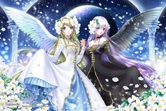 Gemini angels with long hair, feather wings, & contrasting dresses by manga artist Shiitake.