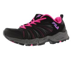 Fila Women's Trailbuster 2-W Trail Runner, Black/Atomic Blue/Pink Glow -- You can get more details by clicking on the image.