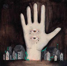 La mano  Ilustración por Bran Sólo (www.bransolo.com)  Retrato masculino, ilustración, acrílico, original, hombre, dibujo, pintura, retrato, mar, sea, man, men, drawing, illustration, painting, portrait