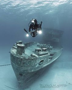 """""""USS KITTIWAKE""""  What a wreck shot! By Ellen Cuylaerts  ind more great underwater pictures at: www.scubashooters.net"""
