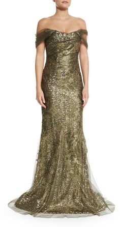 Rene Ruiz Off-the-Shoulder Metallic Gown
