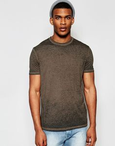 Image 1 ofASOS T-Shirt With Burn Out Wash In Relaxed Fit In Brown