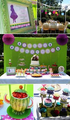 Watermelon teapot Alice-in-Wonderland-Tea-Party-Dessert-Table-2