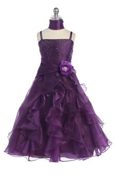 Click to enlarge : Plum Jeweled Bodice Ruffle Layered Organza Flower Girl Dress