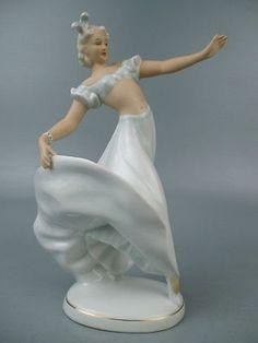 Vintage Deco Schaubach Kunst German Porcelain Figurine Beauty Dancer Girl