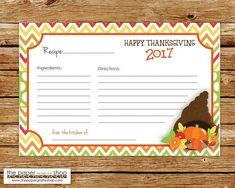 Items similar to Thanksgiving Recipe Card, 2018 Thanksgiving Recipe Card, Thanksgiving Dinner Recipe Card on Etsy Thanksgiving Dinner Recipes, Happy Thanksgiving, Fall Birthday Parties, Christmas Printables, Recipe Cards, Fall Recipes, Christmas Holidays, Party Themes, Etsy