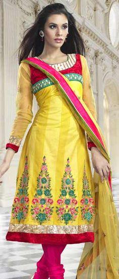 #Yellow Net #Churidar Kameez with Dupatta, #Salwar Kameez, Salwar #Suits, Churidar Salwar Kameez, #Embroidered Salwar kameez, Party Salwar #Kameez |  $94.67