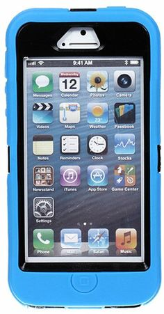 Amazon.com: myLife (TM) Ninja Black + Deep Sky Blue Flat Color Survival Armour Suit (Built in Screen Protector) 3 Layer Case for iPhone 5/5S...