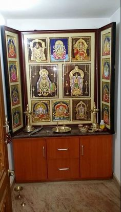 Get ideas on designs for pooja room in hall. Discover amazing Pooja Mandir for Home and use them to create a peaceful environment in your house. 2 Bedroom House Plans, House Rooms, Pooja Rooms, Pooja Room Door Design, Bedroom Cupboard Designs, Prayer Room, Indian Home Decor, Room Doors, House Design