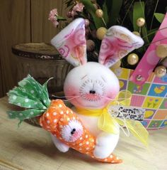 Primitive Raggedy HC Easter Bunny Rabbit Doll Carrot Spring Egg Super Cute!  #IsntThatCute #Easter