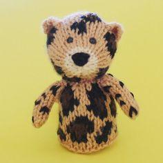Leopard Toy Knitting Pattern PDF Toy Egg Cozy Finger by Jellybum, $3.50