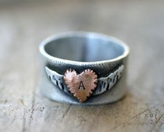 Winged Heart Ring with personalized by monkeysalwayslook on Etsy, $ 104.00