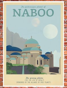 Retro Travel Poster Star Wars Naboo MANY SIZES by TeacupPiranha