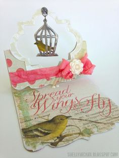 Shelly Hickox makes a Flying Easel card using the Pop 'n Cuts Square Base and the Funky Label Framelits. Adore! Stamptramp: Inspiration Journal Challenge - Falling for Faux