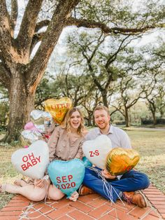 Balloons made to replicate classic conversation heart candies. Birthday Baby Announcement, Valentines Pregnancy Announcement, Pregnant With Boy, Conversation Hearts Candy, February Baby, Valentines Balloons, Baby Balloon, Converse With Heart, Heart Balloons