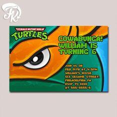 Teenage Mutant Ninja Turtle Mike Eye Birthday Party Card Digital Invitation Kid…