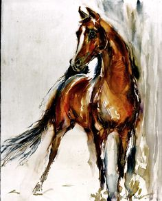 Arab Horse Watercolors $43.50, via Etsy. STUNNING