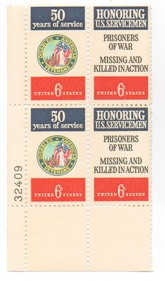 1970 Disabled American Veterans and POW/MIA/KIA 6c Postage Stamps