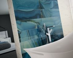 This tile is outstanding. With the look of Onyx but really tile. Takes a focus wall for your bath to a whole new level.