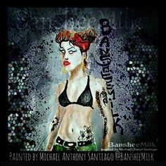 I painted this pin-up character a while back. If you like it you should follow @BansheeMilk on Pinterest, Instagram, Twitter and every other complete technolgical waste of time. #artist #rockabilly #pinup #chola #goth #tattoos