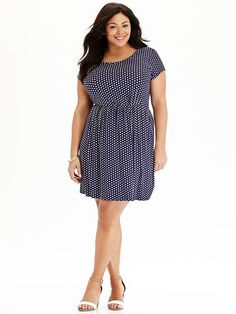 Women's Plus Polka-Dot Jersey Dresses Product Image