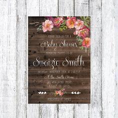 Autumn Boho Baby or Bridal Shower Invitation, Floral Invitation, Rustic Invitation, Bohemian, Custom Invitation, Wedding, Digital Download