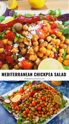 Mediterranean chickpea salad is full of delicious flavors and textures. It is healthy, filling, meatless, packed with plant protein & fiber. Chickpea Salad Recipes, Lentil Recipes, Healthy Salad Recipes, Recipes With Chickpeas, Vegan Recipes, Mediterranean Chickpea Salad, Easy Mediterranean Diet Recipes, Rainbow Chard Recipes, Vegetarian Snacks