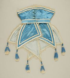 Blue silk satin corselet with detachable bow, French, circa 1867
