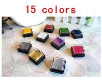 15 pcs/lot 15 colors DIY Cute Cartoon Plastic Ink Pad Stamp Inkpad for Decoration Photo Album Scrapbooking Free shipping 217
