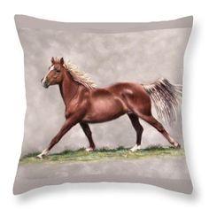 Misty - equine pastel print on throw pillow by Sandra Huston