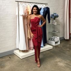 A gorgeous full length dress by Australian designer Samantha Rose. A strapless style featuring ruffle on the neckline and waist. Wine Bridesmaid Dresses, Ruffles, Swatch, Stylists, Neckline, Formal Dresses, Design, Style, Fashion