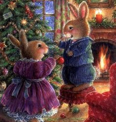 New Christmas Tree Illustration Susan Wheeler Ideas Susan Wheeler, Illustration Noel, Christmas Illustration, Illustration Artists, Bunny Art, Cute Bunny, Christmas Scenes, Christmas Art, Family Christmas
