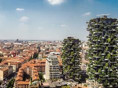 beautiful view of Milan, Italy, from the top of the Unicredit Tower designed by the architect Cesar Pelli. Just in front it is possible to admire Bosco Verticale by Stefano Boeri
