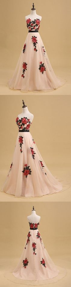 Newest Straight across Print evening dress with trailing, A-line long prom dresses, PD0530 #promdresses #longpromdresses