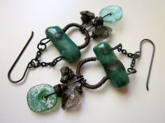 This Side of Paradise - primitive teal green & bronze ceramic connector, Roman sea glass, pyrite, herkimer diamond, and black brass earrings by LoveRoot, $41.00