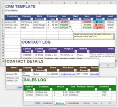 Download a free CRM Template for Excel or Google Sheets from Vertex42.com Sales Crm, Attendance Sheet, Crm System, Customer Relationship Management, Company Work, Business Templates, Planner Organization, Offices, Personal Development