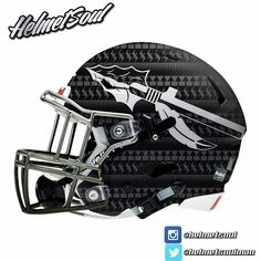 Matte black FSU pattern shell with a grayed out spear and silver/gradient mask. New from Helmetsoul.