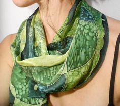Green Patchwork  Hand Painted Silk Scarf by CygnetSilks on Etsy, $73.00