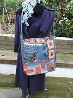 Cross body upcycled bag made with jeans boro and sashiko stitching OOAK handmade