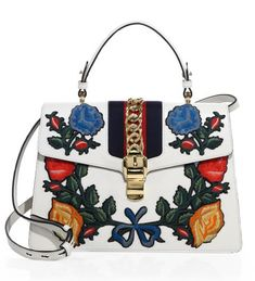 75631cbaa22 Gucci Sylvie Medium Embroidered Leather Top-Handle Bag White   0400092173251  -  259.00