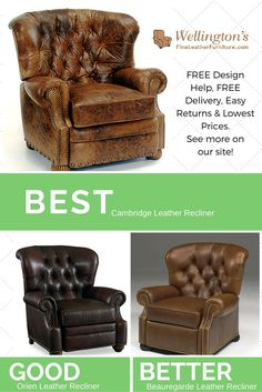 Beau Cambridge Leather Recliner Shown In This Picture In A Very Distressed  Leather. Ships FREE From