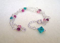 Crystal Anklet Ankle Bracelet Multi Color Ladies by BikerBlingCa